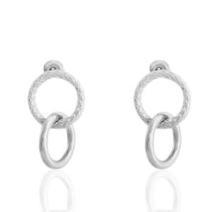 Oorbellen double ring small zilver stainless steel 18x12mm
