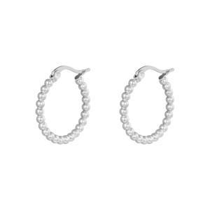 Oorbellen hoops bolletjes zilver stainless steel 22mm