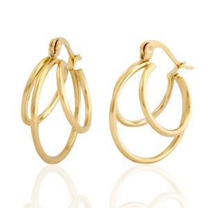 Oorbellen hoops circles goud stainless steel 21mm