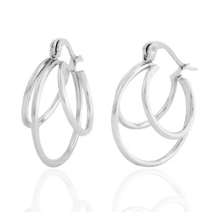 Oorbellen hoops circles zilver stainless steel 21mm