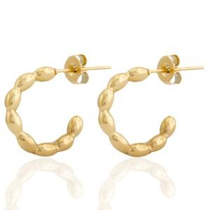 Oorbellen hoops dots goud stainless steel 15mm