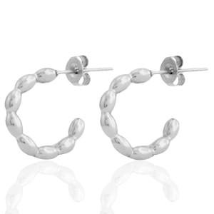 Oorbellen hoops dots zilver stainless steel 15mm