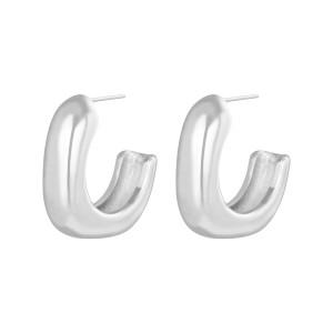 Oorbellen hoops glam square zilver stainless steel 3.5x9mm