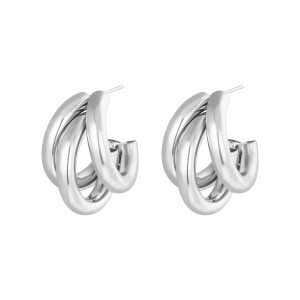 Oorbellen hoops olympic zilver stainless steel 22x27mm