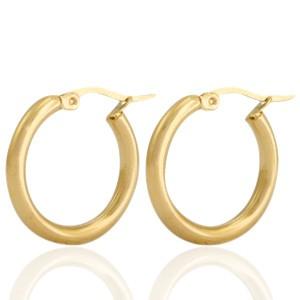 Oorbellen hoops plain goud stainless steel 23mm
