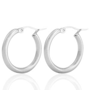 Oorbellen hoops plain zilver stainless steel 23mm