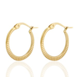 Oorbellen hoops striped goud stainless steel 20mm