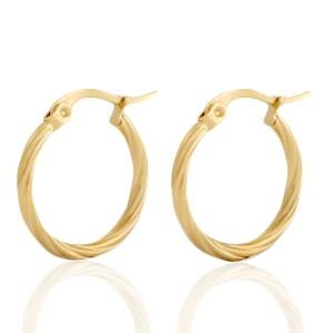 Oorbellen hoops swirl goud stainless steel 20mm