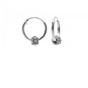 Karma oorbellen hoops symbols bali 1 925 sterling silver 12mm (per paar)