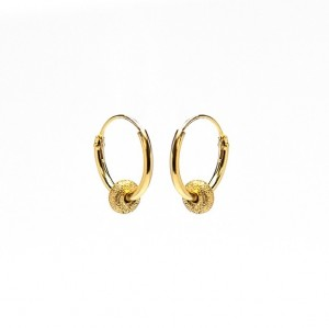 Oorbellen hoops symbols bali 2 goldplated 12mm (per paar)