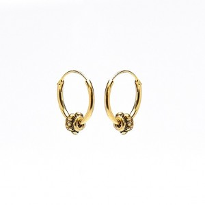 Oorbellen hoops symbols bali 3 goldplated 12mm (per paar)