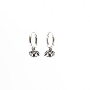 Oorbellen hoops symbols eye 925 sterling silver 12mm (per paar)