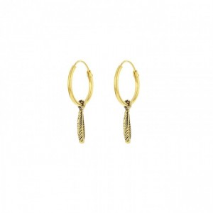 Karma oorbellen hoops symbols feather goldplated 12mm (per paar)