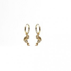 Oorbellen hoops symbols flamingo goldplated 12mm (per paar)