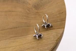 Karma oorbellen hoops symbols leopard 925 sterling silver 12mm (per paar)