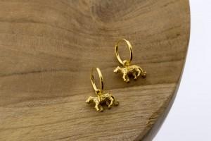 Karma oorbellen hoops symbols leopard goldplated 12mm (per paar)