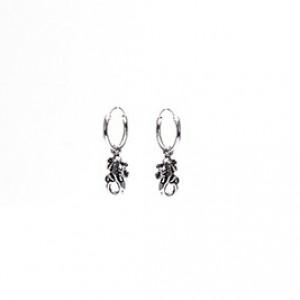 Karma oorbellen hoops symbols lizard 925 sterling silver 12mm (per paar)