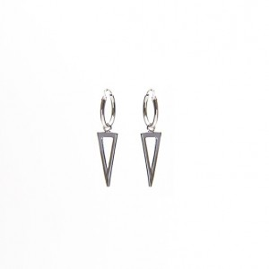 Karma oorbellen hoops symbols open long triangle  925 sterling silver 12mm (per paar)