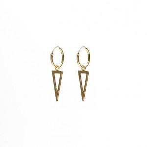 Oorbellen hoops symbols open long triangle  goldplated 12mm (per paar)