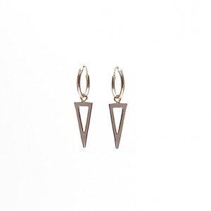 Oorbellen hoops symbols open long triangle  roseplated 12mm (per paar)