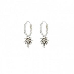 Oorbellen hoops symbols palmtree 925 sterling silver 12mm (per paar)