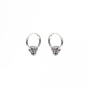 Karma oorbellen hoops symbols panther head 925 sterling silver 12mm (per paar)