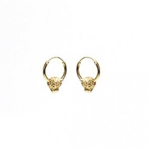 Oorbellen hoops symbols panther head goldplated 12mm (per paar)