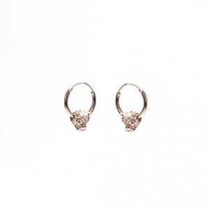 Oorbellen hoops symbols panther head roséplated 12mm (per paar)