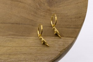 Oorbellen hoops symbols parrot goldplated 12mm (per paar)