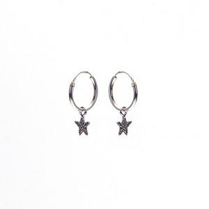 Oorbellen hoops symbols starfish 925 sterling silver 12mm (per paar)