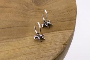 Karma oorbellen hoops symbols zebra 925 sterling silver 12mm (per paar)