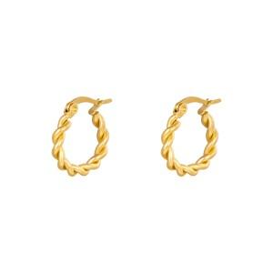 Oorbellen hoops twine goud stainless steel 15mm