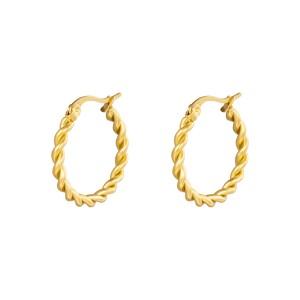 Oorbellen hoops twine goud stainless steel 22mm