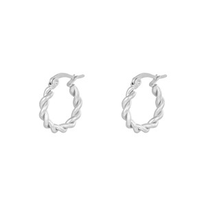 Oorbellen hoops twine zilver stainless steel 15mm