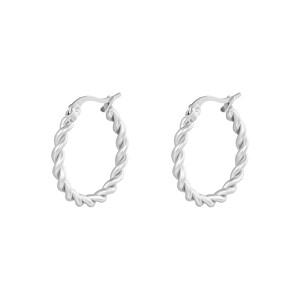 Oorbellen hoops twine zilver stainless steel 22mm