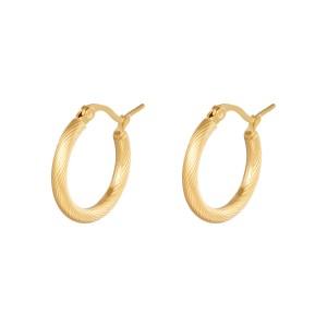 Oorbellen hoops twisted goud stainless steel 22mm