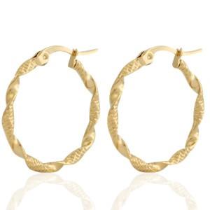 Oorbellen hoops twisted goud stainless steel 25mm
