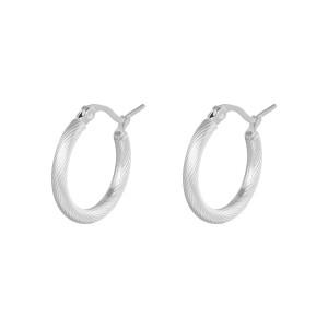 Oorbellen hoops twisted zilver stainless steel 22mm