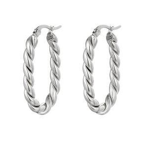 Oorbellen twisted oval zilver stainless steel 19x32mm