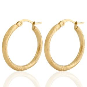 Oorbellen hoops swirl goud stainless steel 25mm