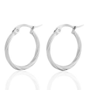 Oorbellen hoops swirl zilver stainless steel 20mm