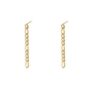 Oorstekers vertical chain variation goud 0.4x4.5cm
