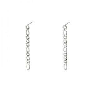 Oorstekers vertical chain variation zilver 0.4x4.5cm