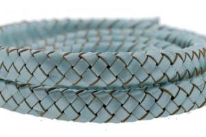 Ovaal gevlochten kabel leer 10x6mm aqua per cm