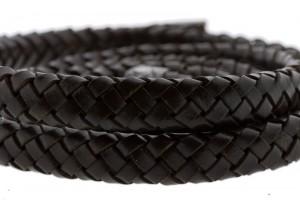 Ovaal gevlochten kabel leer 10x6mm chocolade bruin per cm