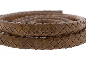 Ovaal gevlochten kabel leer 10x6mm cognac per cm