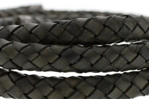 Ovaal gevlochten kabel leer 10x6mm dark army green per cm