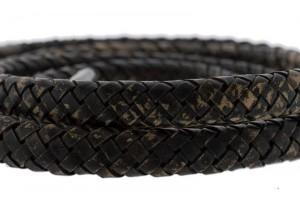 Ovaal gevlochten kabel leer 10x6mm donker vintage bruin per cm