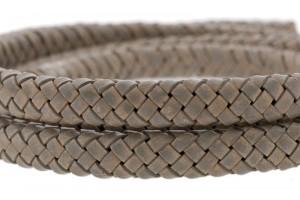 Ovaal gevlochten kabel leer 10x6mm earth grey per cm