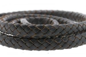 Ovaal gevlochten kabel leer 10x6mm grijs per cm